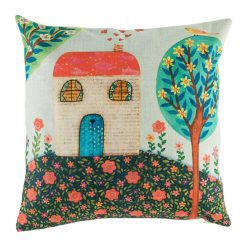Beautiful cushion cover featuring scene depicting home and a tree