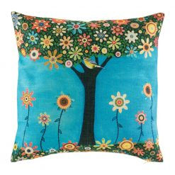 Bright blue cushion cover with funky flower tree