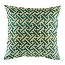 Cushion cover with green jagged design