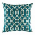 Blue cushion cover with repeating swirl design