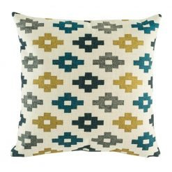 Checked decorative cushion cover with blue and yellow accents