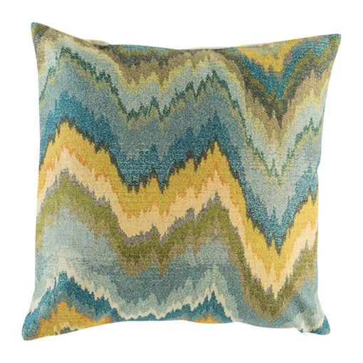 Cushion cover with wave like blue green and yellow