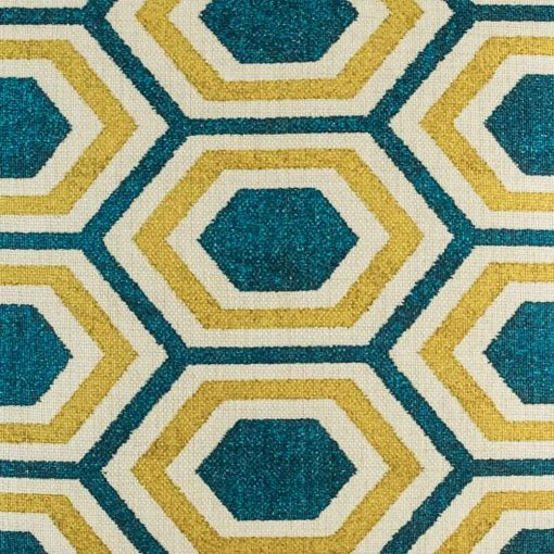 Close up of yellow and blue geometric pattern on cushion cover