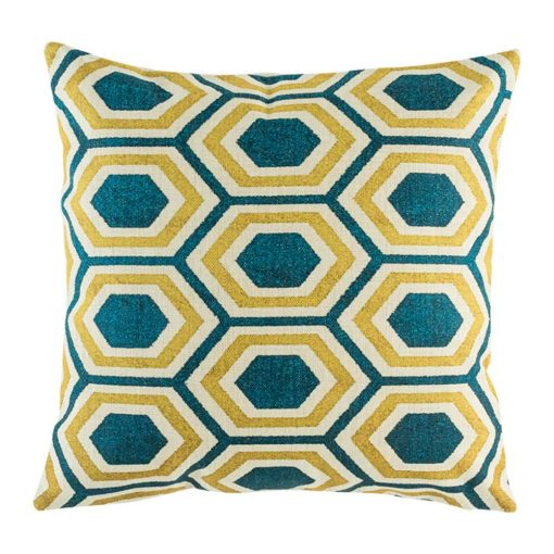 Blue and yellow geometric pattern on cushion cover
