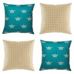 Bold 4 cushion cover set with bright teal crown and polka dot design