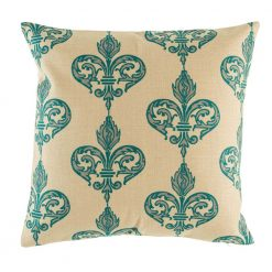 Natural coloured cushion with teal pattern