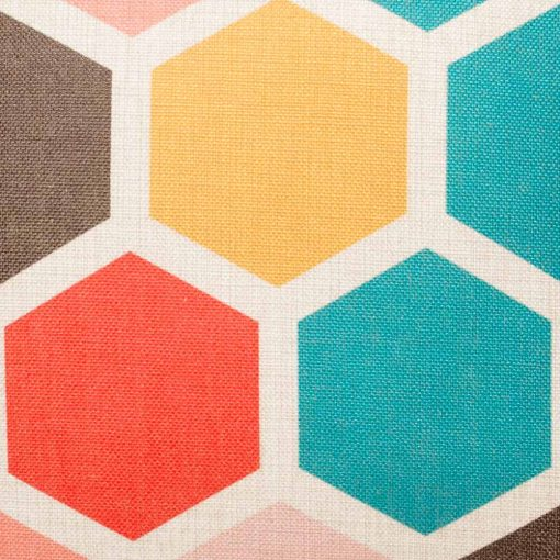 Zoomed in view of colourful hexagon pattern
