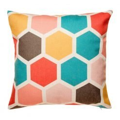 Hexagon pattern in teal yellow pink and red on cushion cover