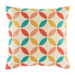Cushion cover with overlapping circle design in yellow, pink, red and teal