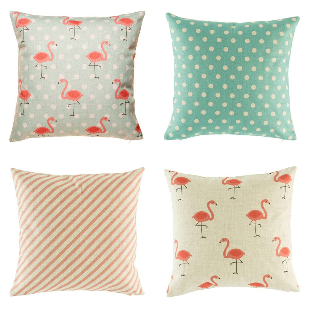 Bright colourful teal and pink 4 set of cushion covers