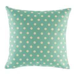 Teal cushion cover with polka dot pattern