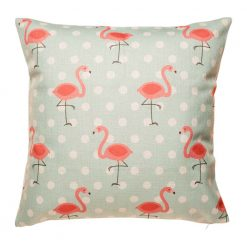 Light blue cushion cover with striking flamingo pattern