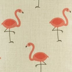 Close up o funky flamingo pattern on cushion