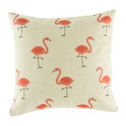 Funky cushion cover with pink flamingo pattern