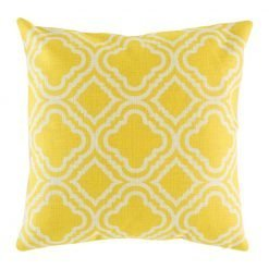 Bright yellow cushion cover with pattern