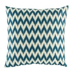 Navy chevron pattern on cotton linen cushion cover