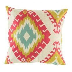 Light cushion cover with green, blue and pink pattern