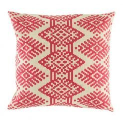 Bright pink cushion with geometric shapes