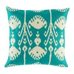 Teal coloured cushion with elegant swirl designs