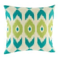 Teal and green print on scatter cushion cover