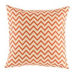 Light cushion with red orange chevron pattern