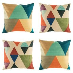 Bold 4 cushion cover set with geometric patterns in rich pastel colours