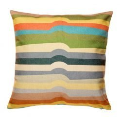 Striped cushion with greens and yellows