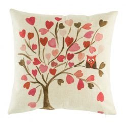 Cute pink tree with owl in branch cushion cover