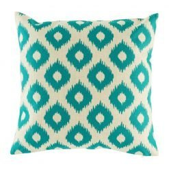 Cushion cover with diamond teal pattern