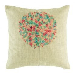 Cotton linen cushion cover with purple and blue bubble tree pattern