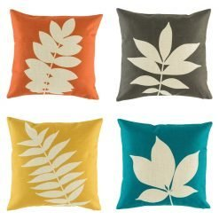 Set of 4 cushions with leaf print