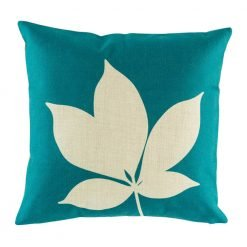 Teal cushion cover with leaf print