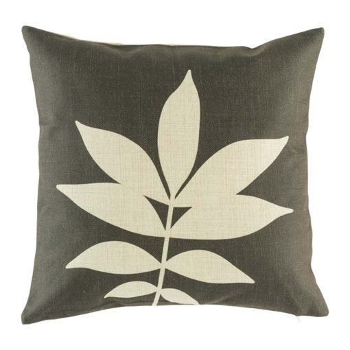 Brown cushion cover with leaf print
