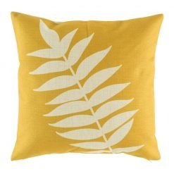 Yellow cushion cover with leaf print