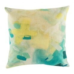 Abstract colouring in yellow and blue green on cushion cover