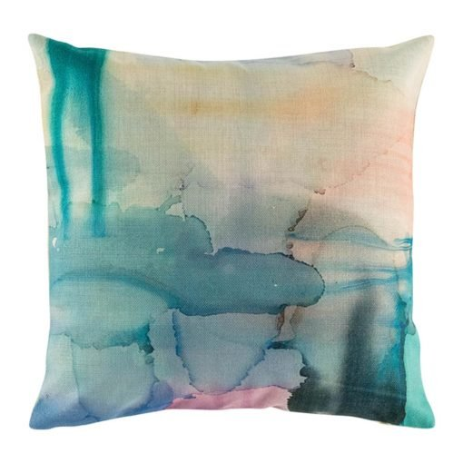 Tye died patterned cushion cover with green and blue