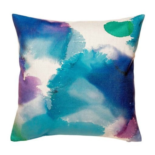 Colourful blue and purple cushion cover with tye died pattern