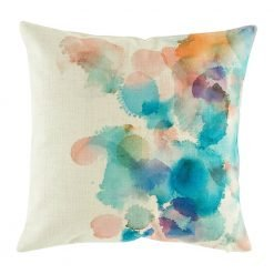 Cushion cover with a colourful water colours type design