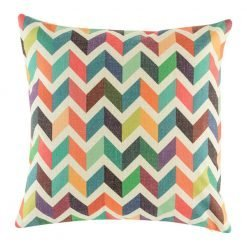 Bright rainbow coloured cushion cover with chevron pattern