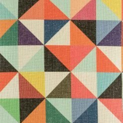 Close up view of colourful cushion cover with triangle pattern