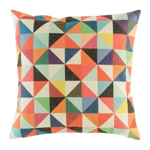 Bright colourful cushion cover with rainbow triangle design