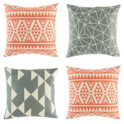 Collection of 4 modern design cushion covers with greys and reds