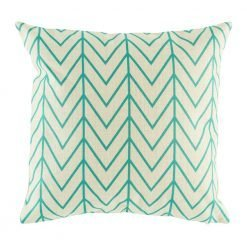 Cushion cover with fine teal coloured lines