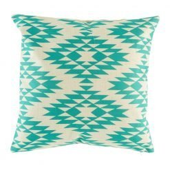 Teal coloured cushion cover with diamond pattern