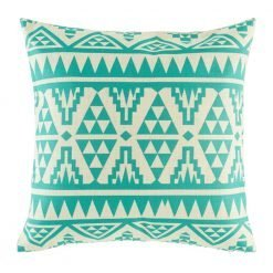 Teal coloured cushion cover with geometric patterning