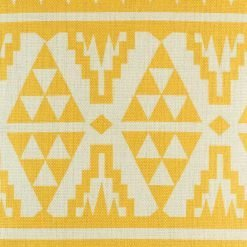 close up of yellow print on scatter cushion cover