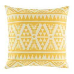 Light cushion cover with bright yellow geometric print