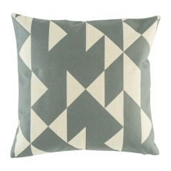 Grey and white cushion cover with contemporary triangle design