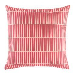Bright pink cushion cover with geometric pattern