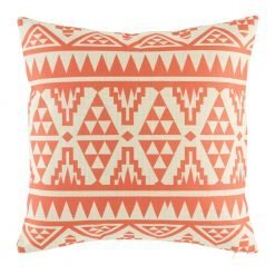 Orange red coloured cushion with bold pattern in set of 4